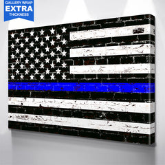 Blue Line American Police Flag Wall Art