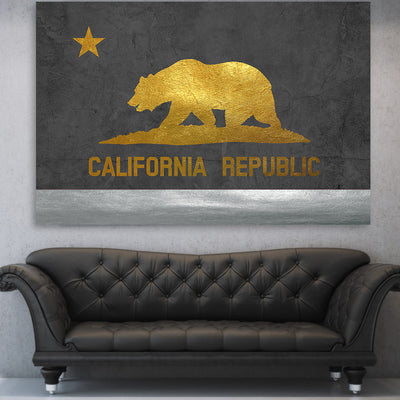 Gold & Silver Cali Flag Canvas
