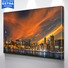 Chicago Skyline Amazing Orange Glow Wall Art
