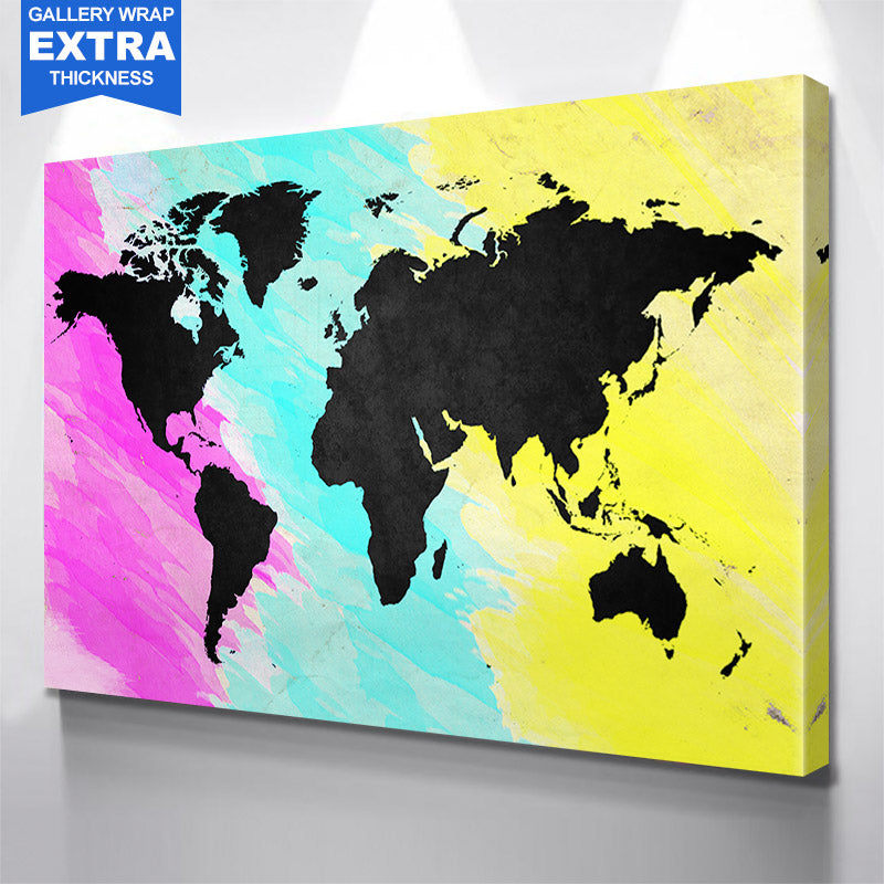 Colorful & Black World Map