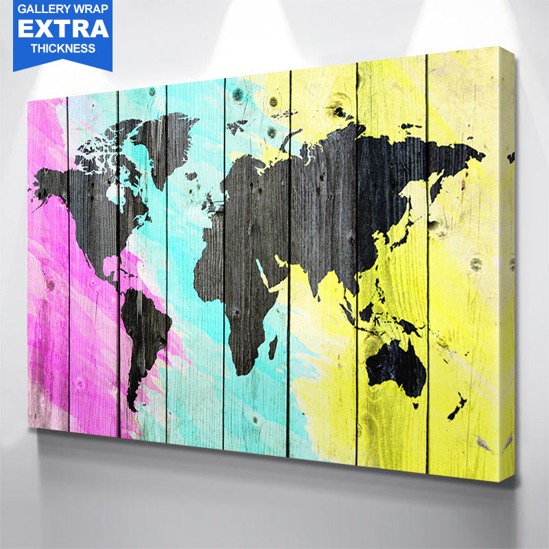 Colorful World Map Wood Canvas