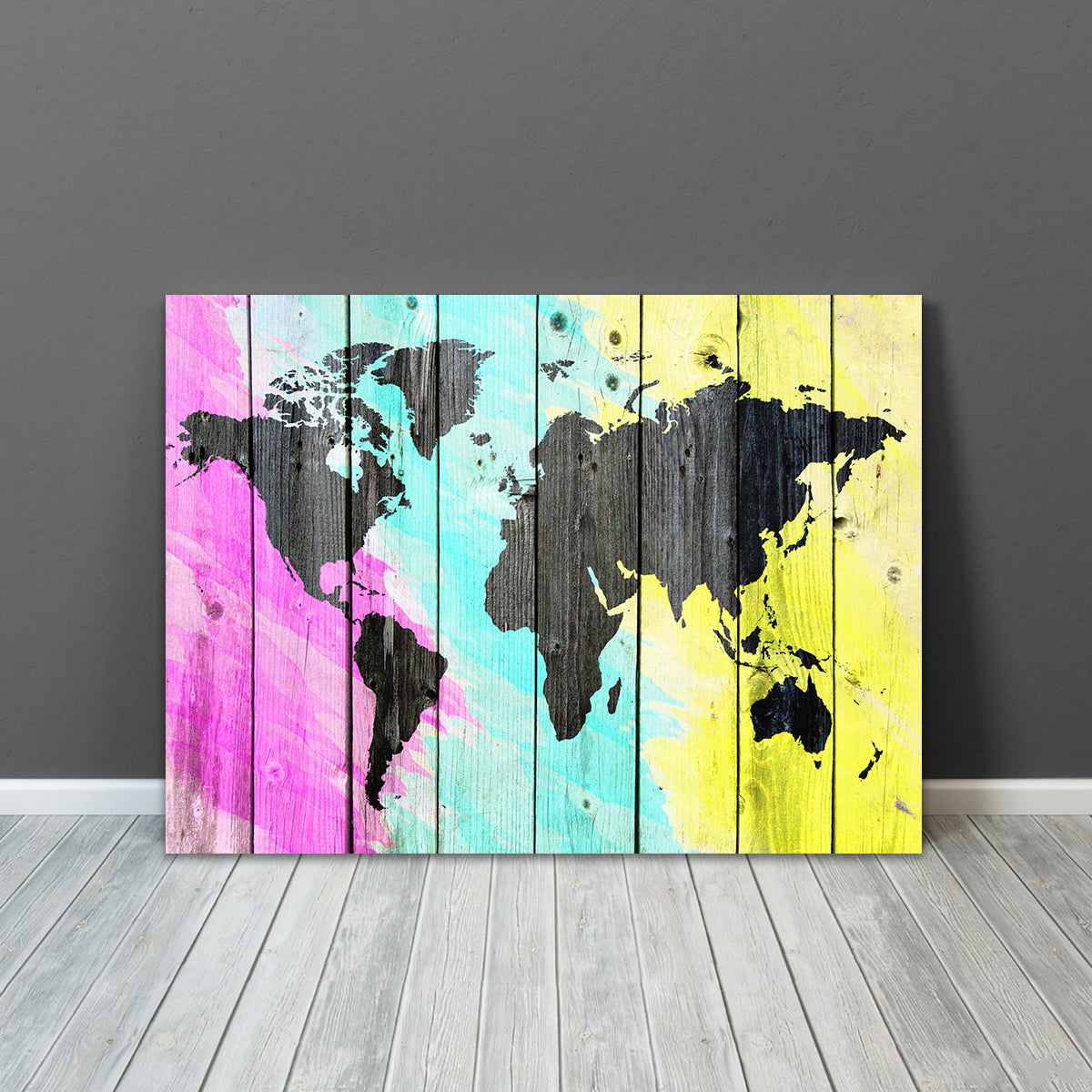 Colorful World Map Wood Canvas Zapwalls - Colorful world map painting