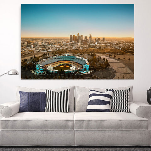 Amazing LA Skyline Dodgers Stadium Canvas