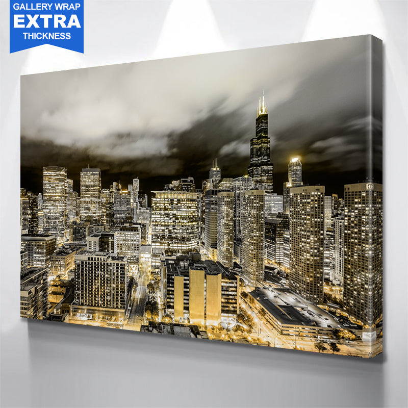 Golden Chicago Canvas