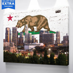 Cali Flag Los Angeles Skyline Graffiti Canvas Wall Art