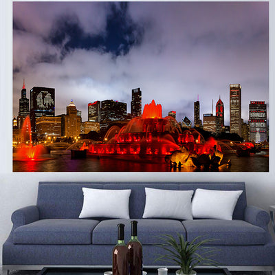 jlewis Decals AWESOME BUCKINGHAM FOUNTAIN RED CHICAGO SKYLINE