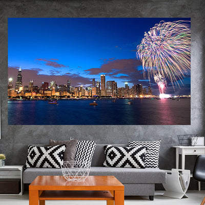 jlewis Decals Awesome Chicago Skyline Firework Wall Graphic