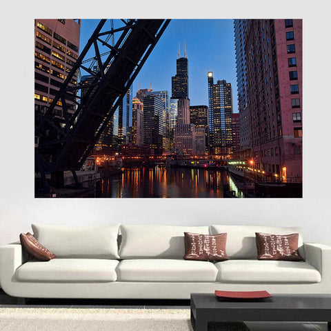 jlewis Decals Bridge Chicago River Sears Tower Wall Graphic