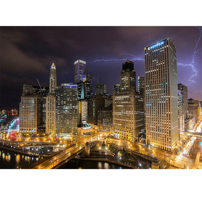 Lightning Strike Chicago Skyline Wall Graphic Zapwalls