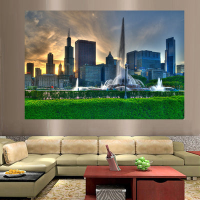 jlewis Decals Sunny Buckingham Fountain Chicago Wall Graphic