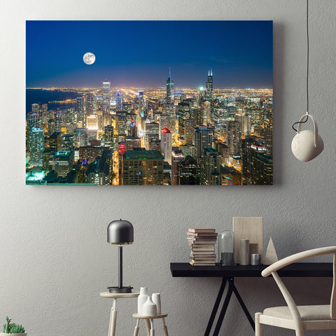 Aerial Moon Chicago Canvas
