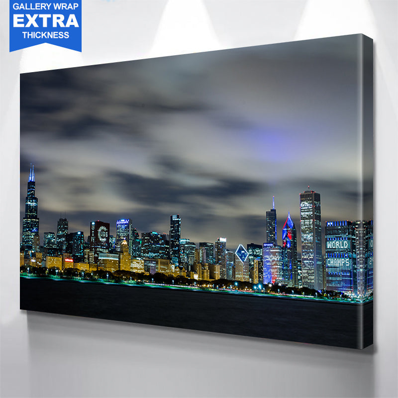 AMAZING CHICAGO SKYLINE BLUE GLOW Canvas