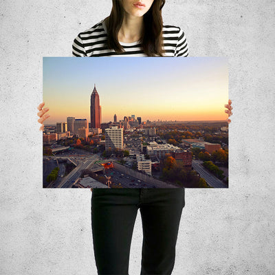 Colorful Atlanta Night Skyline Wall Art Print High Quality Print