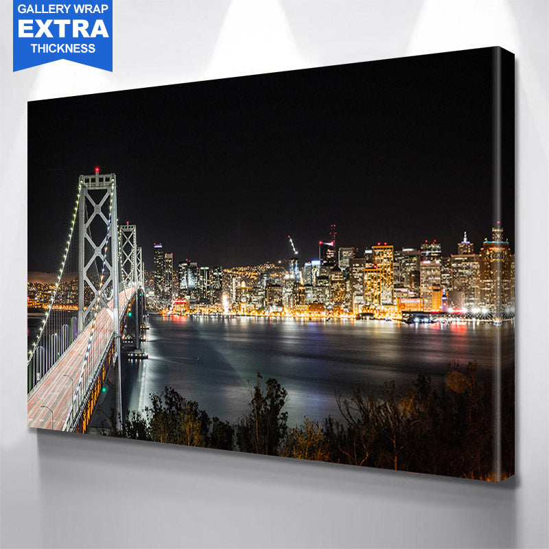 San Francisco Oakland Bay Bridge Night Skyline Canvas
