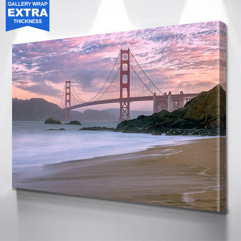 Beautiful Beach Golden Gate Bridge San Francisco Canvas