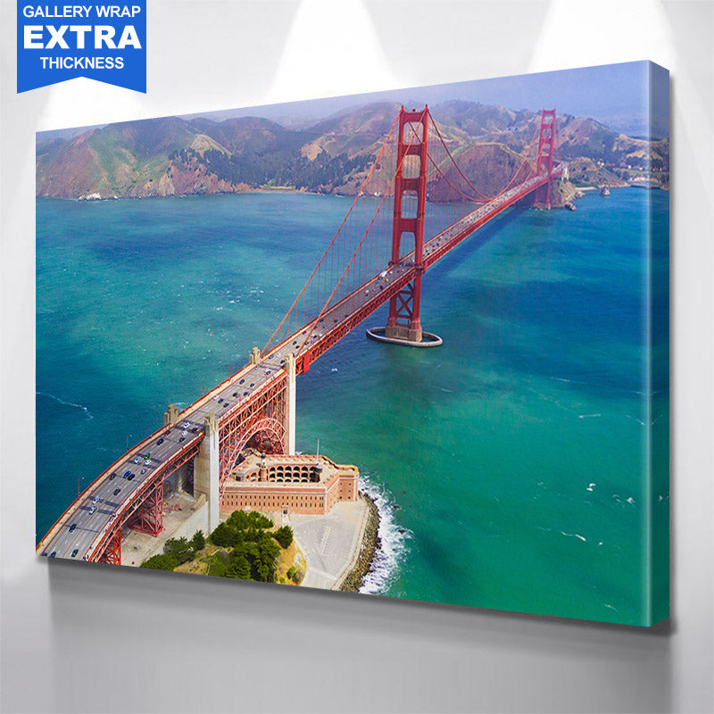 Aerial Sunny Daytime San Francisco Golden Gate Bridge Canvas