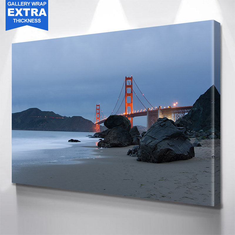 San Francisco Beach Cloudy Golden Gate Bridge Canvas