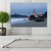Image of San Francisco Beach Cloudy Golden Gate Bridge Canvas