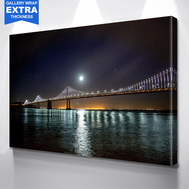 San Francisco Oakland Bay Bridge At Night Canvas