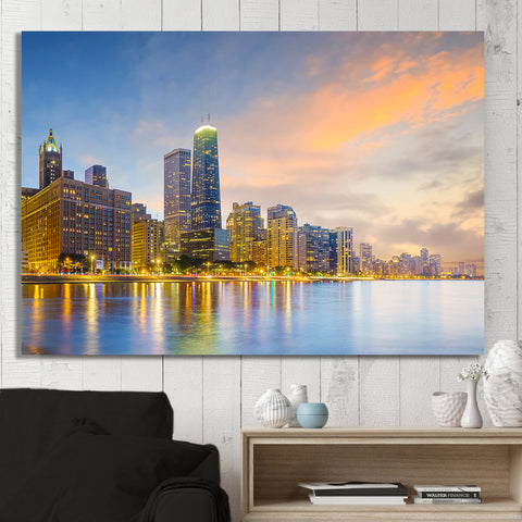 Sun Chicago North Skyline Canvas