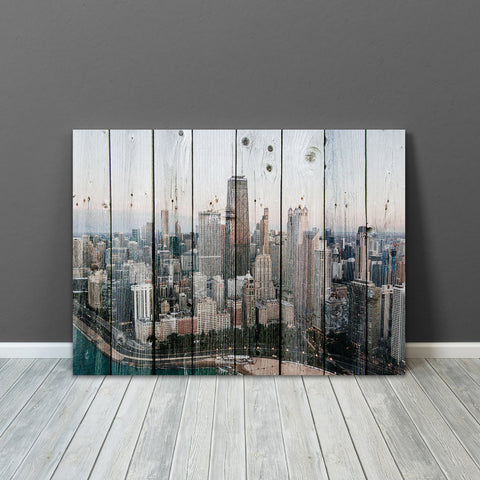 Chicago Skyline Rustic Wood Decor