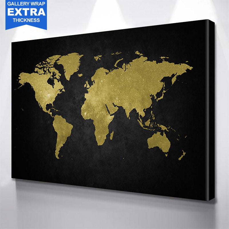 World Map Black & Gold