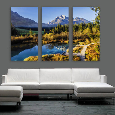 Mountain Peak Pound Reflection Wall Art Multi Panel Canvas Wall Art