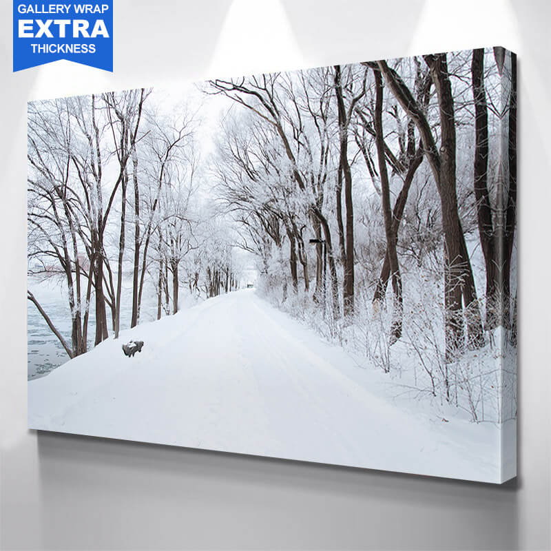 Winter Road Trees Wall Art Canvas Art