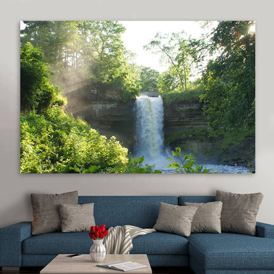 Water Fall in Forest Wall Art Canvas Art