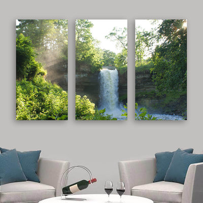 Water Fall in Forest Wall Art Multi Panel Canvas Wall Art