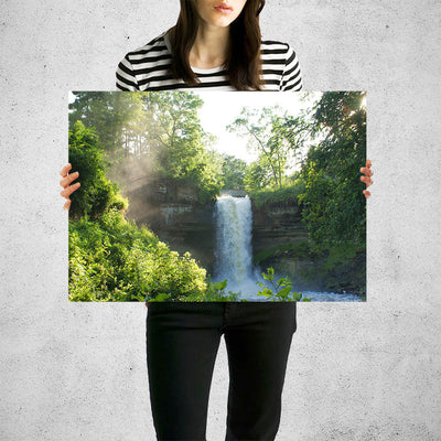 Water Fall in Forest Wall Art High Quality Print Wall Art