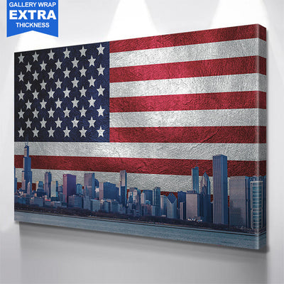 Chicago Skyline American Flag Silver & Red Canvas Motivational Wall Art