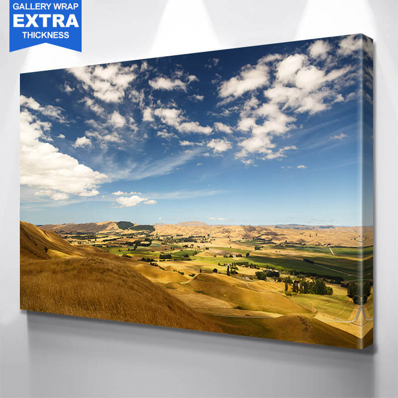 Hilly Country Side Town Blue Sky Wall Art Canvas Art