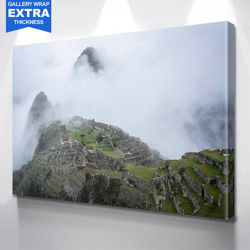 Machu Picchu Foggy Mountain Peek Wall Art Canvas Art
