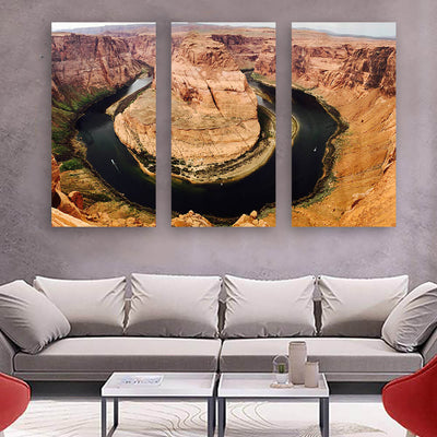 Horse Shoe Bend Dark River Grand Canyon Wall Art Multi Panel Canvas Wall Art