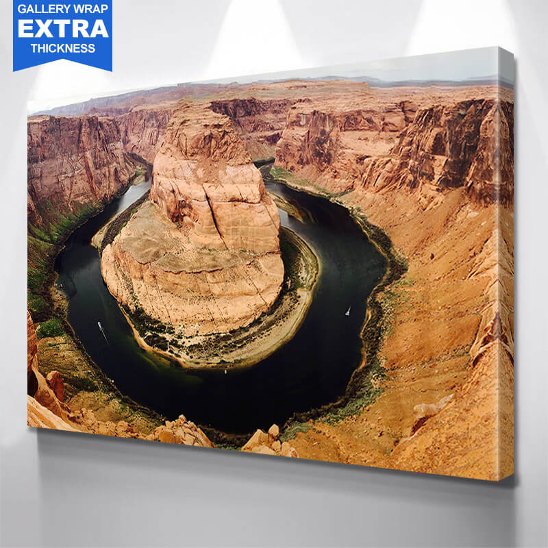 Horse Shoe Bend Dark River Grand Canyon Wall Art Canvas Art