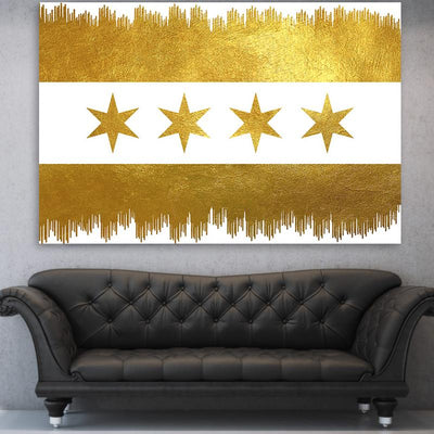 Chicago Gold Drip Flag White Canvas Motivational Wall Art
