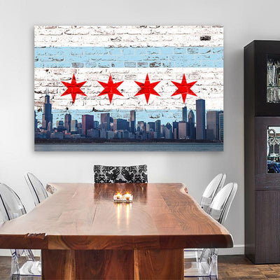 Chicago Graffiti Flag Skyline Canvas Motivational Wall Art