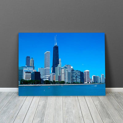 Blue Chicago Lake Front Canvas Motivational Wall Art