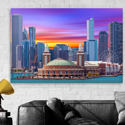 Navy Pier Colorful Skyline Canvas Motivational Wall Art