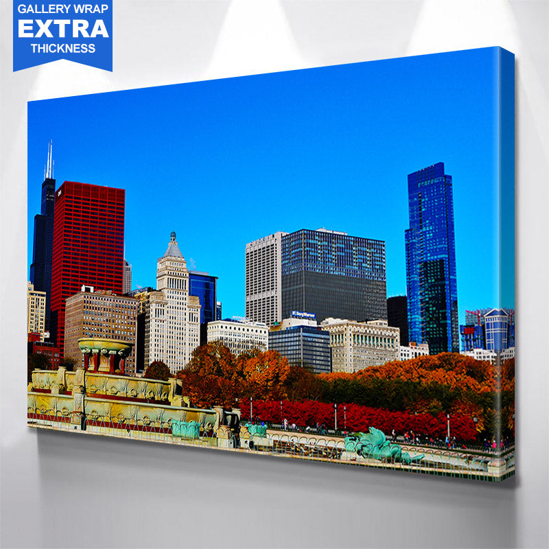 Grant Park Colorful Blue Sky Chi Skyline Canvas Motivational Wall Art