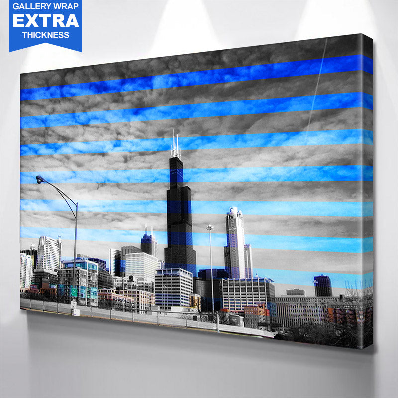 Sears Towers Black & White Stripes Canvas Motivational Wall Art