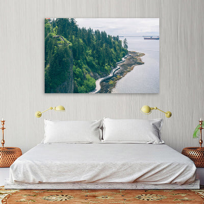Canadian Coast Forest Cliff Ocean Wall Art Canvas Art