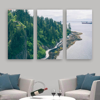 Canadian Coast Forest Cliff Ocean Wall Art Multi Panel Canvas Wall Art