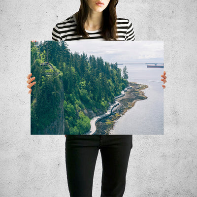 Canadian Coast Forest Cliff Ocean Wall Art High Quality Print Wall Art