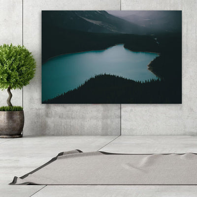 Dark Lake Mountainside Wall Art Canvas Art