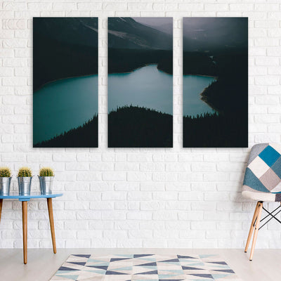 Dark Lake Mountainside Wall Art Multi Panel Canvas Wall Art