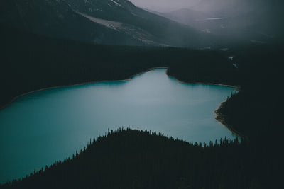 Dark Lake Mountainside Wall Art High Quality Print Wall Art