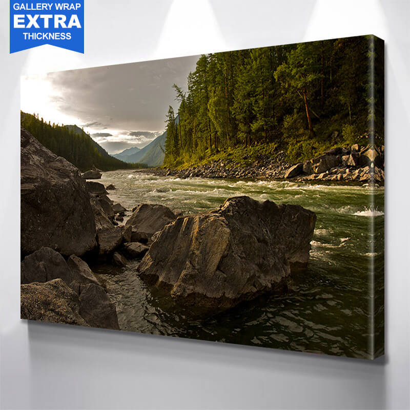 River Stream in Forest Mountains Wall Art Canvas Art