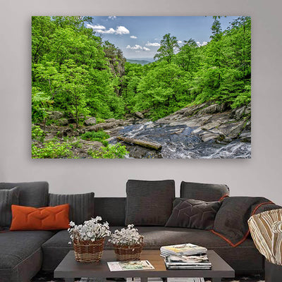 River Stream Forest Hills Wall Art Canvas Art